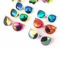 2016 Moda Olho de Gato óculos Crianças óculos de sol metade armação de metal Óculos de Proteção dos desenhos animados Meninos/Meninas Óculos Coloridos Reflexivos Óculos de criança