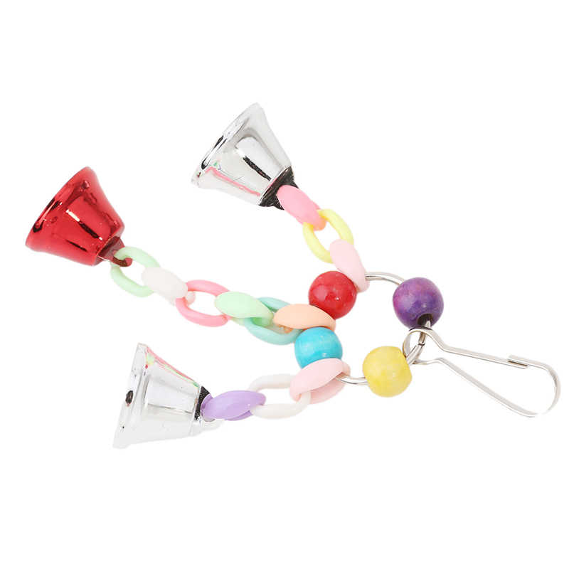 Colorful Beads Bells Parrot Toys Suspension Hanging Bridge Chain Pet Bird Parrot Chew Swing Toys Bird Cage Home Decoration Tools