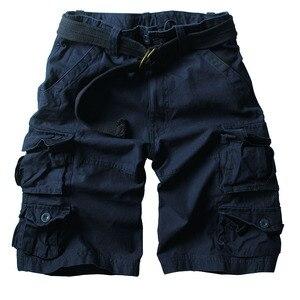 Image 3 - קיץ מכנסיים קצרים מטען גברים רבים כיס הסוואה חצי מכנסיים קצר מקרית Loose Camo מכנסיים באורך הברך עם חגורה ברמודה זכר