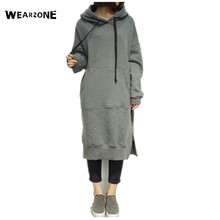 2016 Autumn Winter Women Long Hoodie Dress Plus Size Loose Pullover Casual Long Sweatshirt Add Velvet Thicken Hooded Dress(China)