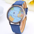 New Fashion Women Casual Watch Canvas Fabric Strap World Map Pattern Plane Pointer Wristwatch Students Vintage Elegant Relogio