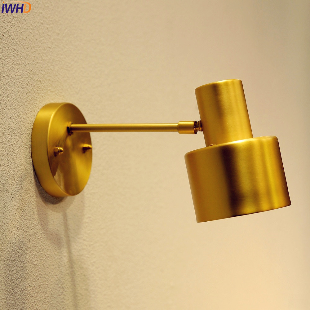 Iwhd vintage brass copper led wall lights fixtures bedroom bathroom mirror japanese style nordic wall lamp home lighting in led indoor wall lamps from