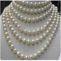 2018New women's REAL PEARL BEAUTIFUL!LONG 100 INCHES 8 9MM WHITE PEARL NECKLACE H1603