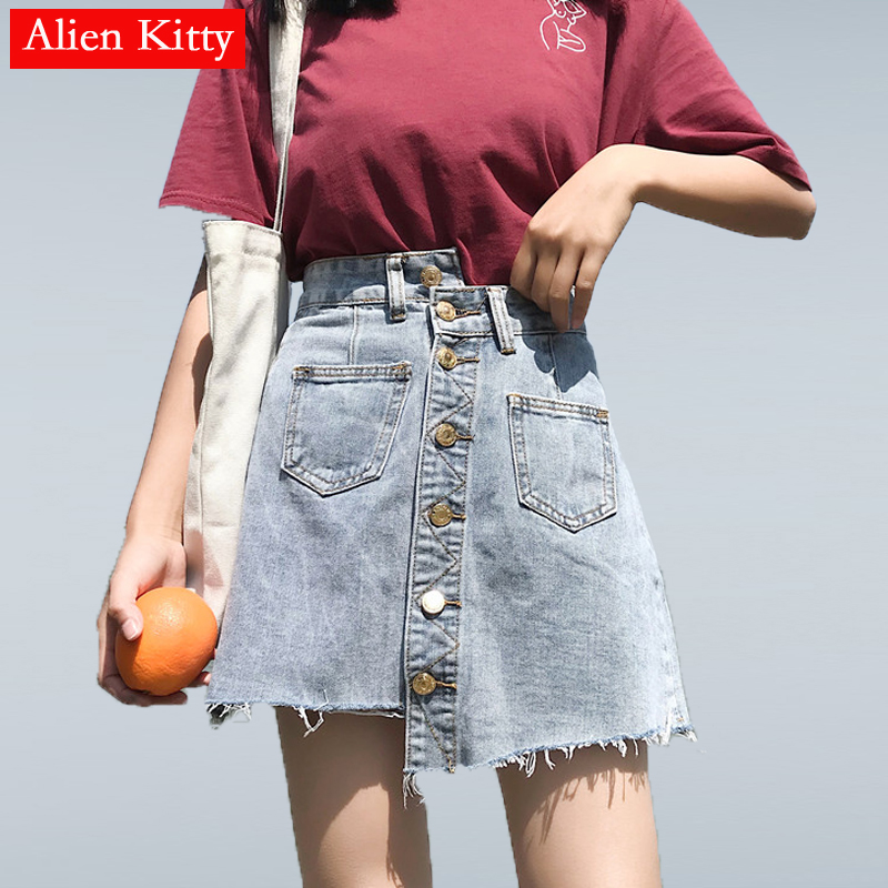 Alien Kitty 2019 Summer Women's <font><b>Denim</b></font> <font><b>Skirts</b></font> <font><b>High</b></font> <font><b>Waist</b></font> <font><b>Jeans</b></font> <font><b>Skirt</b></font> Tassel Pockets <font><b>Skirts</b></font> Irregular Mini A-line Solid <font><b>Skirts</b></font> image
