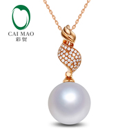 Free shipping 14k Rose Gold Round SouthSea Pearl Engagement Diamond Pendant