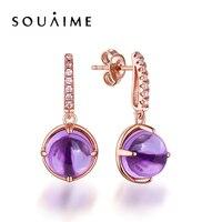 SOUAIME Natural Amethyst Earrings Fashion 925 Sterling Silver Jewelry For Women Fine Jewelry Brincos E003754
