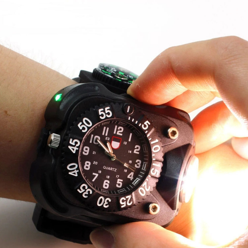 Ipx7 Multifunction Wristwatch Lamp Wrist Led Flashlight Usb Rechargeable Night Running Watch Light With Compass Bracelet Torch Invigorating Blood Circulation And Stopping Pains Men's Watches