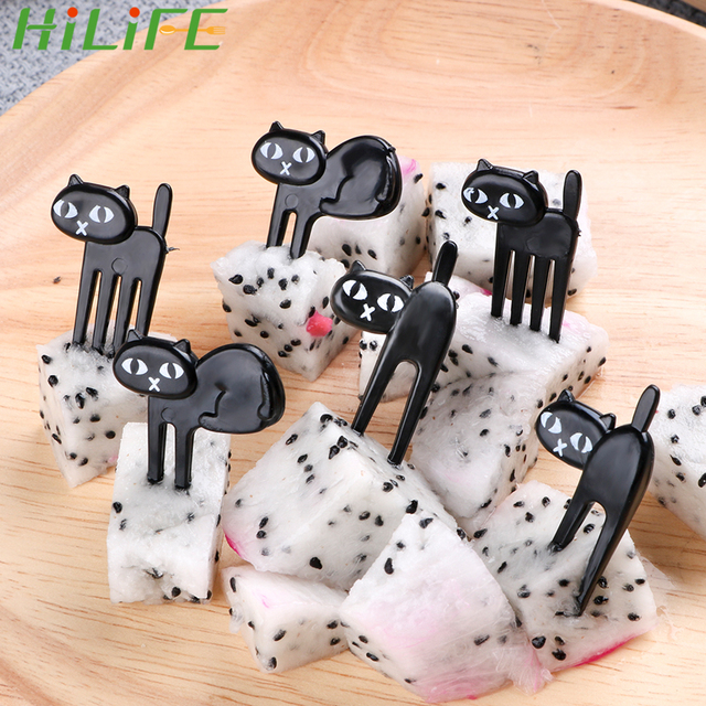 HILIFE 6pcs/pack Black Cat Fruit Fork Mini Cartoon Snack Cake Dessert Food Fork Bento Lunches Toothpick Party Decor for Children