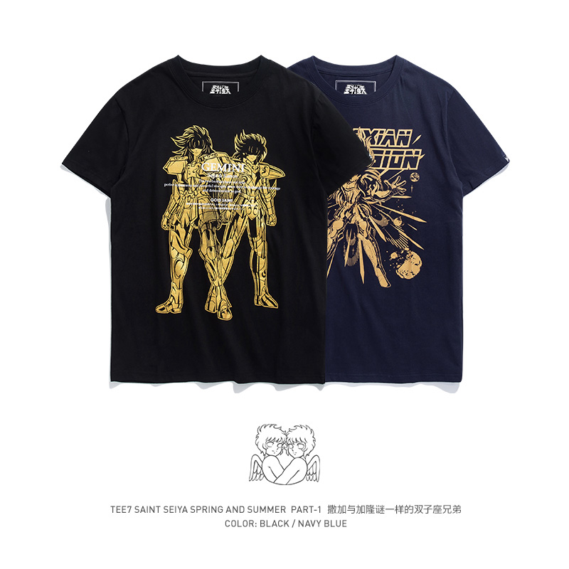 TEE7 Men Casual Short Sleeve t shirt Japan Anime Saint Seiya Gemini brothers Cotton Fashion Printed Male Top Blouse
