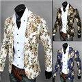 Homens Blazer 2016 nova inverno coreano versão Slim de flores de moda costura selvagem Casual ternos casaco