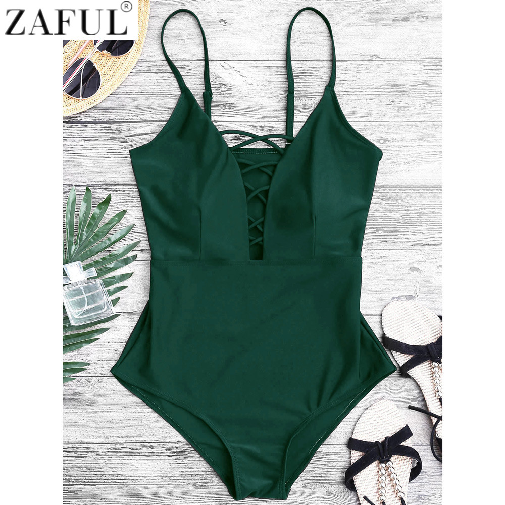 0a9c73cb7379e ZAFUL Women Sexy Crisscross Plunge One Piece Swimwear Backless Monokini  Swimsuit Bandage Bathing Suits Beachwear Swim