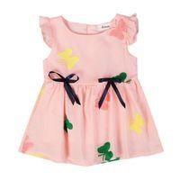 Brand Baby Girl Dress Pleated Sleeveless Cute Princess Dress Children Clothing Girls butterfly print Dresses Summer