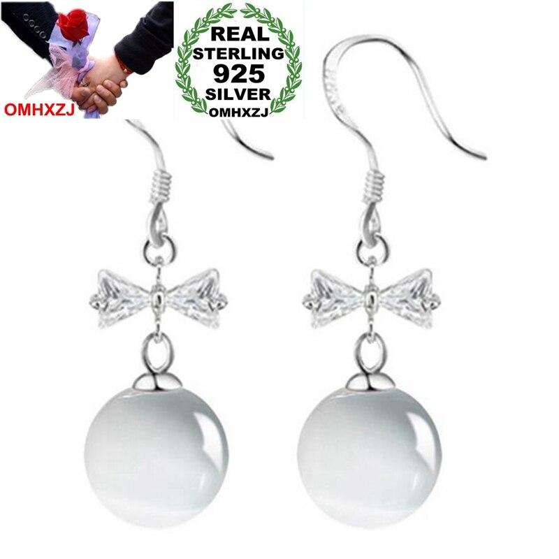 OMH Wholesale HOT Jewelry fashion for Woman gift Bowknot Cat's eye opals 10mm 925 Sterling Silver Tassel drop Earrings YS195