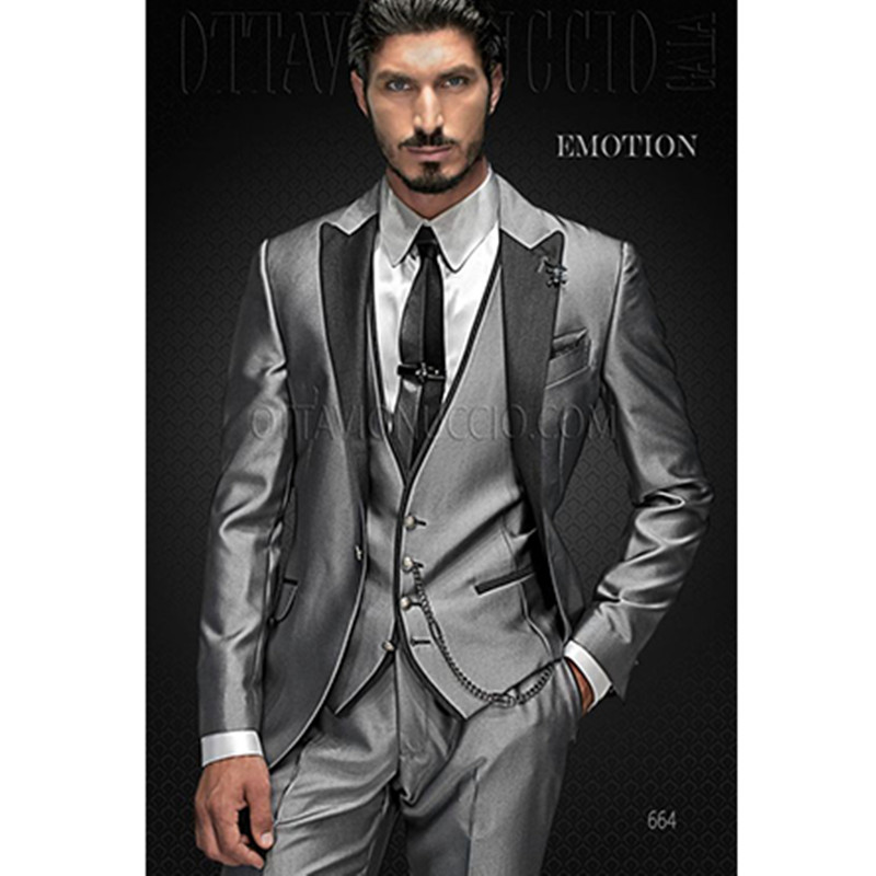 Smoking de mariage argent hommes costumes