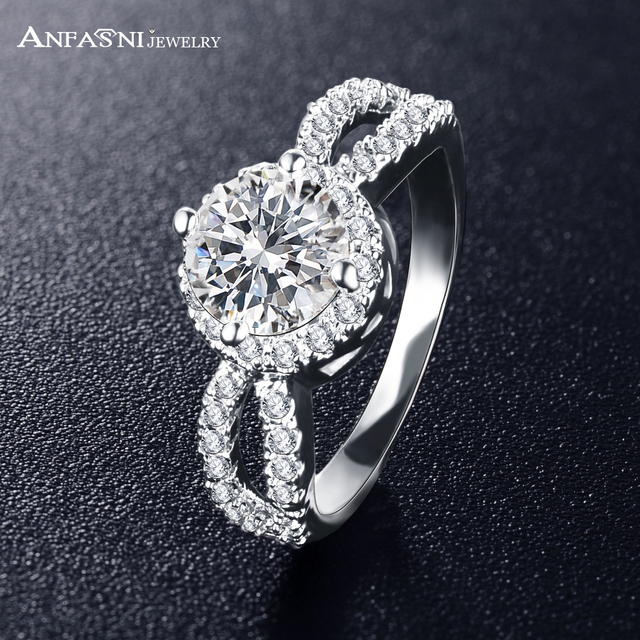 ANFASNI Engagement Rings For Women Silver Color Wedding Ring CZ Zircon Jewelry T