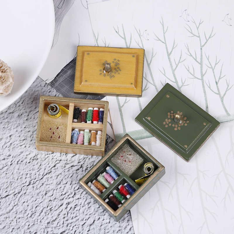 Caja de madera de cocina/donut/Pintura/médico/aguja/joyería/maleta/Caja de Herramientas/vino/ maquillaje/costura miniatura DIY accesorios 1:12