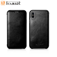 ICARER Retro Leather Case for iPhone XS X Vintage Handmade Genuine Leather Cover Luxury Flip Case for iPhoneX Xs