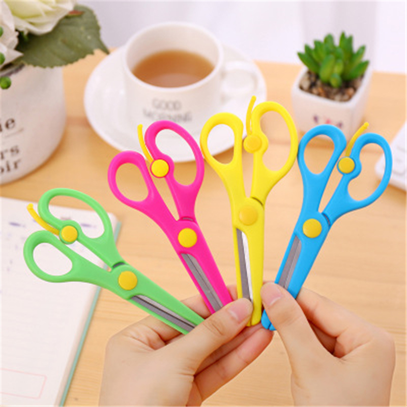 Student Manual DIY Paper-cut Elastic Round Small Scissors Safety Plastic Paper Cutting Small Scissors