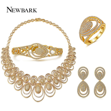 NEWBARK Bridal Jewelry Sets Necklace Earring For Brides Gold-color Dubai Pattern Style Women Wedding Accessories Decoration Gift