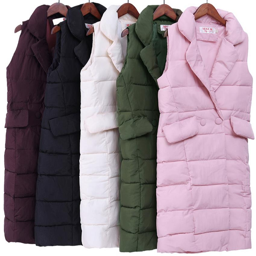 new 2017 Autumn Winter Coat Women Casual Waistcoat Female Sleeveless Cotton Vest Jacket Long Vest Down