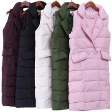 new 2017 Autumn Winter Coat Women Casual Waistcoat Female Sleeveless Cotton Vest Jacket Long Vest Down Coat