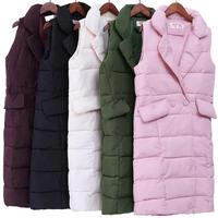 new 2018 Autumn Winter Coat Women Casual Waistcoat Female Sleeveless Cotton Vest Jacket Long Vest Down Coat
