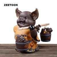 Милый сменный чай свиньи питомец Лаки Фортуна свинка настольная фиолетовая глина yixing офисный шкаф фэн шуй фигурки домашний декор подарочна