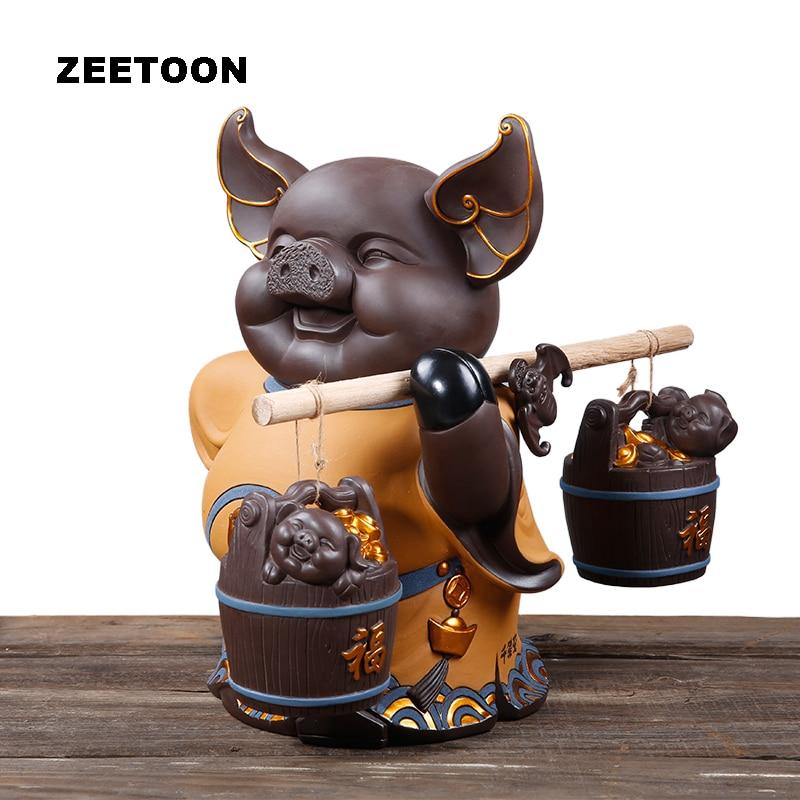 Mignon modifiable cochon thé Pet chanceux Fortune cochon table Yixing violet argile bureau armoire Feng Shui Figurines décor à la maison boîte-cadeau