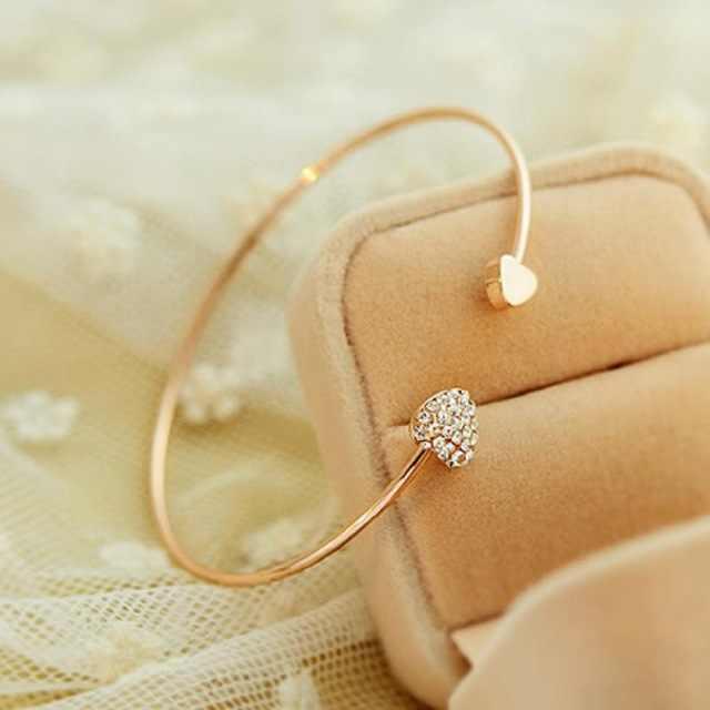 2018 brazalete de mujer abierto Ajustable de Color dorado de diamantes de imitación corazón brazalete de cristal de Zirconia cúbica encanto de las mujeres joyería de moda