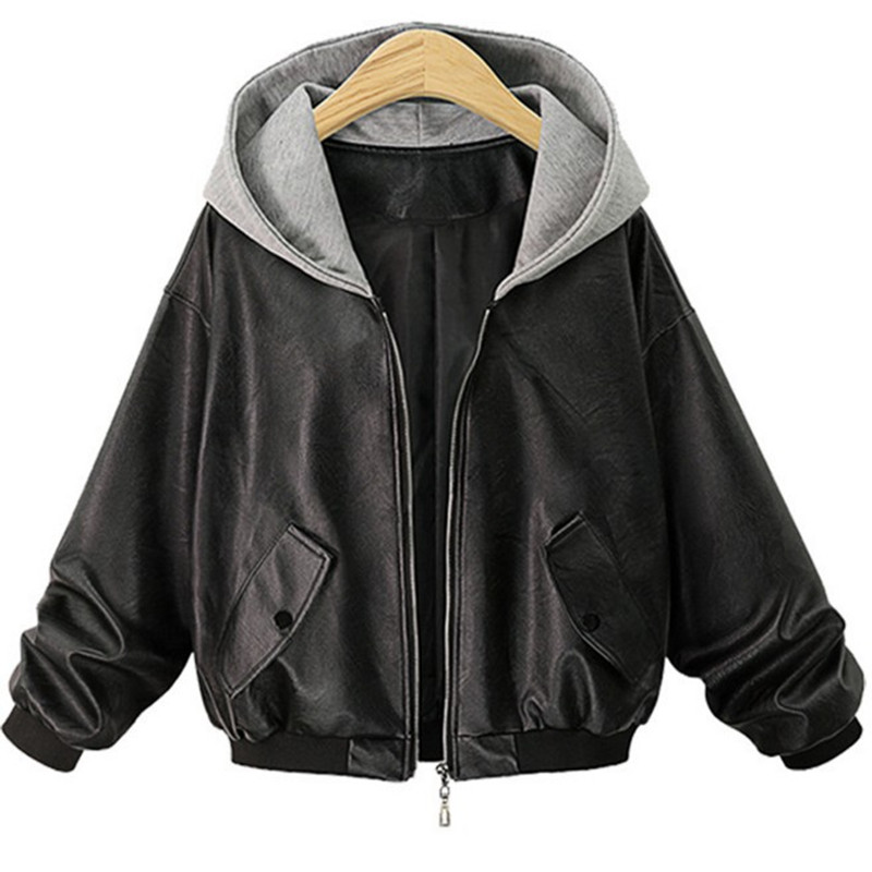 Plus Size Faux   Leather   Jacket Women 2018 Autumn Winter Outerwear Hooded Coat Lady PU   Leather   Black Female Motorcycle Clothing