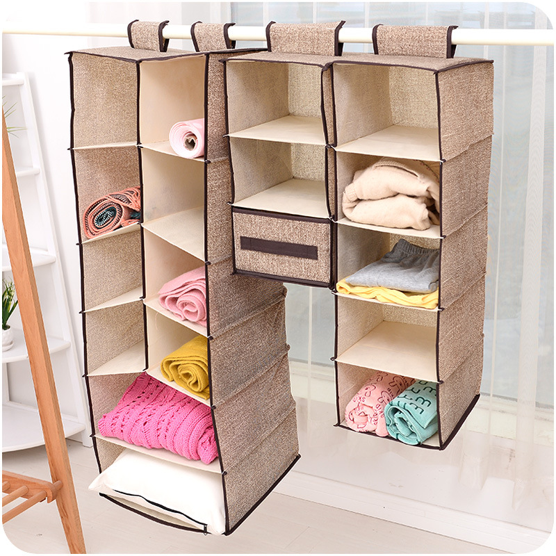 Creative cotton and linen closet hanging organizers foldable Hanging  clothes bag  home storage bag tempat baju gantung