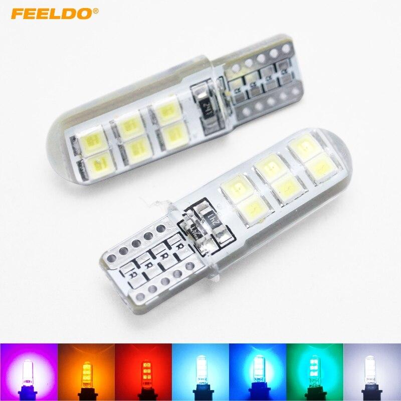 2 шт. 7 цветов автомобилей T10 194 168 W5W 2835 Чип 12SMD Silica автомобилей 12 LED дверь лицензии свет лампы Клин свет # FD-4464