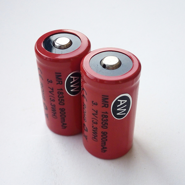 18350 900mah 3.7V 3.6V IMR lithium-ion Li ion rechargeable chargeable batteries for e-cigarettes,flashlights FREE charger