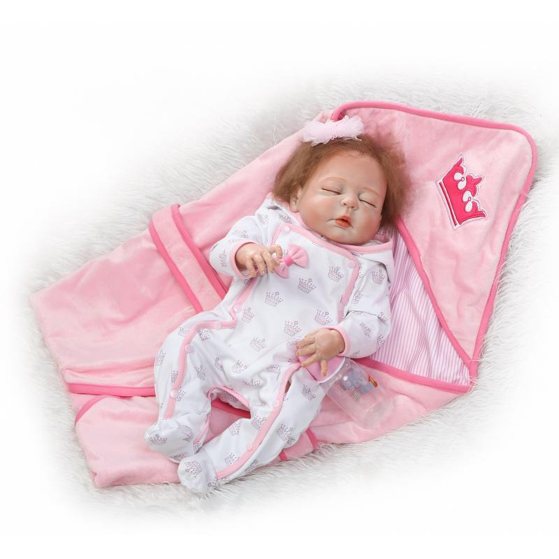Nicery 22inch 55cm Magnetic Mouth Reborn Baby Doll Hard Silicone Lifelike Toy Gift for Children Christmas Pink White Crown Sleep nicery 18inch 45cm reborn baby doll magnetic mouth soft silicone lifelike girl toy gift for children christmas pink hat close