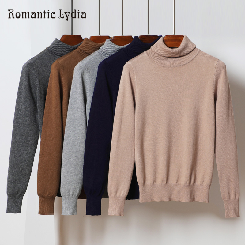 Pullovers Sweater Knitted Women 2018 Autumn Ladies Elasticity Solid Color Casual Jumper Female Warm Slim Turtleneck Sweaters
