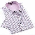 2017 camisas dos homens NOVOS da Marca de Moda Casual camisa Xadrez de manga curta camisa dos homens Vestido de primavera summber estilo camisas para homem
