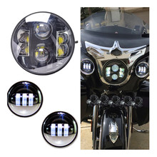 Set 7 inch LED Halo Headlights H4 Kit & 4.5 Inch LED Fog Lights Projector Passing Auxiliary Lamp for Harley Davidso Motorcycle
