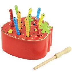 Brinquedos De Madeira do bebê Captura Verme Jogo Magnético Cor Cognição Crianças Interesse Precoce Educacional Maçã Morango Agarrar Brinquedos Clássicos