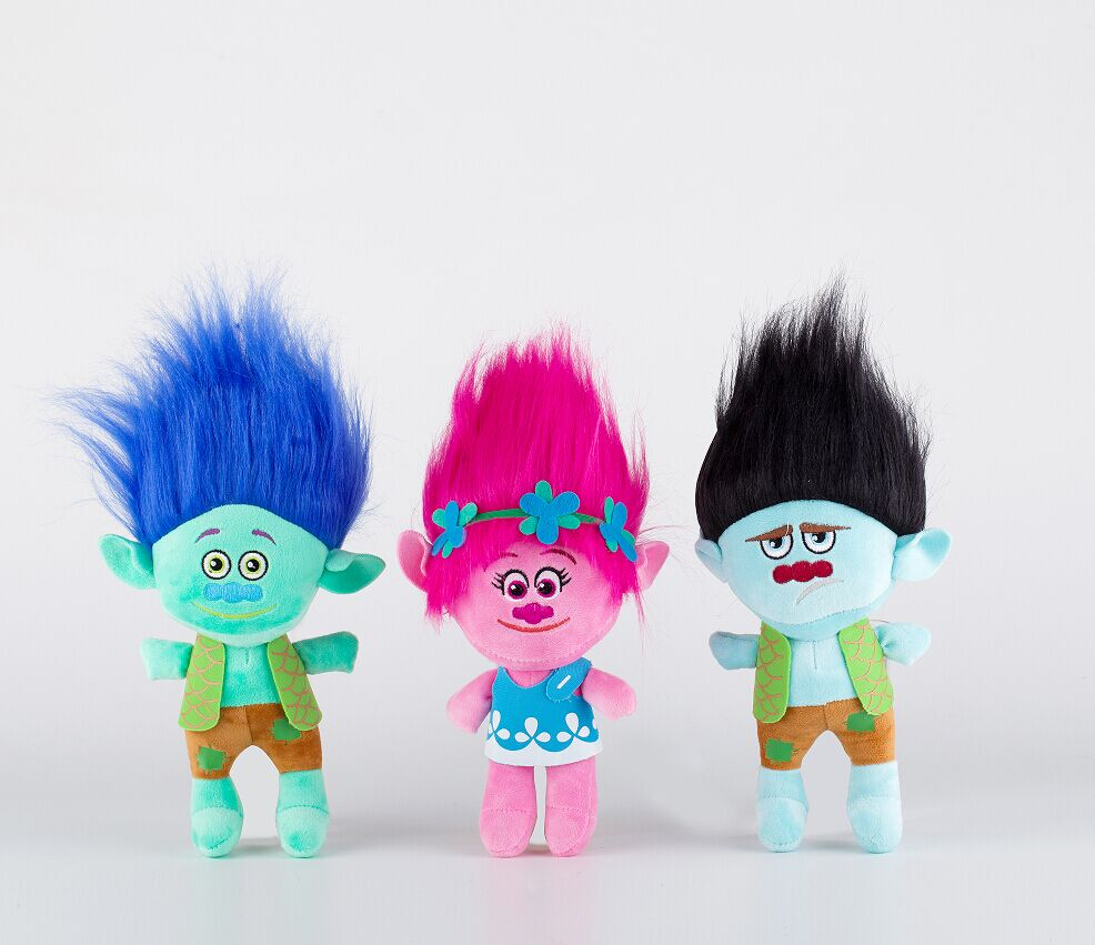 23cm Hot New Movie Trolls Plysch Toy Poppy Branch Dream Works Fyllda Tecknad Dollor Good Luck Trolls Christmas Gifts