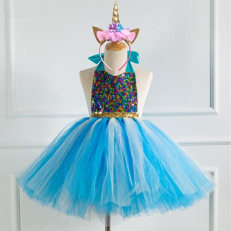 2019 nouvelles filles robe bébé filles licorne paillettes colorées filles robes Tutu robes princesse enfants Cosplay fleur robe de soirée