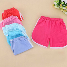Boys Girls Cotton Shorts 2017 Summer Baby Boy Girls Solid Colorful Casual Short Children Kids Sport Short Teenagers Cloth D40