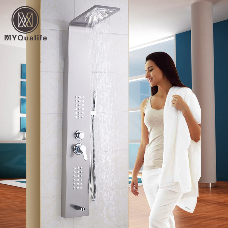 Brushed Nickel Wall Hanger Shower Panel Single Handle with SPA Body Massage Jets Shower Column Mixers Waterfall Rain Head brushed nickel thermostatic shower mixer panel wall mount stainless steel rain waterfall with massage jet shower column