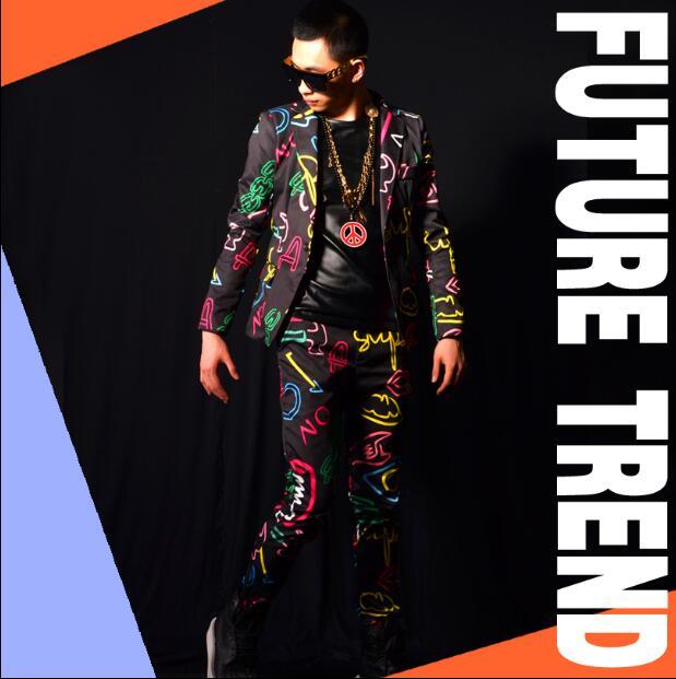 2019 nouveau à la mode discothèque mâle chanteur DSDJ GD néon couleurs costume ensemble d'impressions sont bar costumes accessoires costume M--XXL