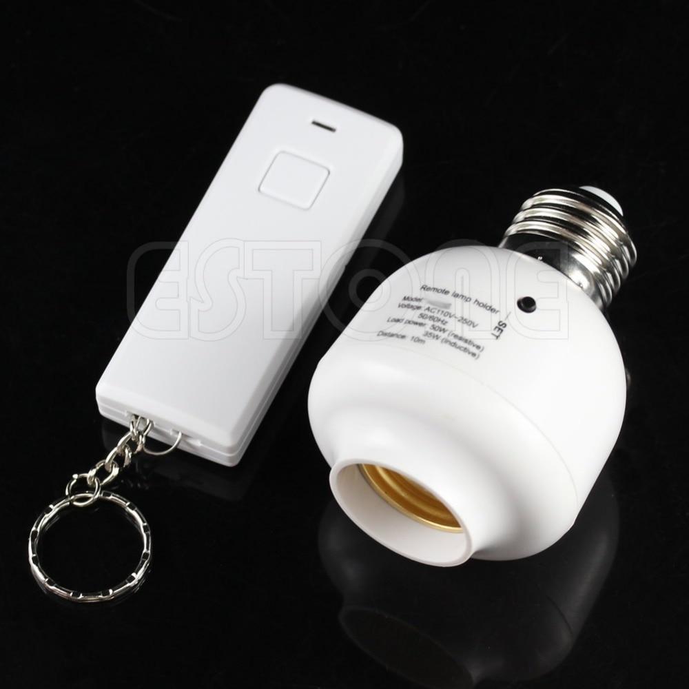 10M Wireless Remote Control E27 Screw Light Lamp Bulb Holder Cap Socket Switch 2018 New e27 wireless remote control switch light bulb socket white ac 110 220v