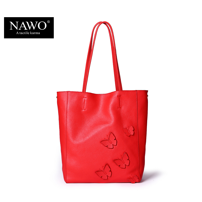 ФОТО NAWO New Embroidery Cow Genuine Leather Women Bag Famous Brand Ladies Composite Bags Large Real Leather Female Shoulder Tote Bag