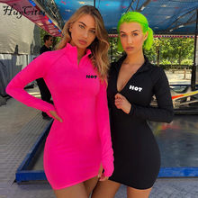 Hugcitar long sleeve high neck zipper high waist bodycon sexy letters print sportswear 2018 autumn winter women fashion dresses(China)