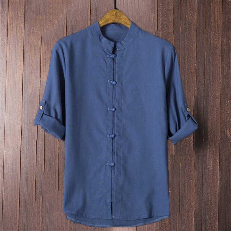 45b4ac3cd10 Chinese Men s Shirts White Cotton Linen Folded Sleeve Mandarin Collar Casual  Shirt Loose Hombre Camisa 5XL