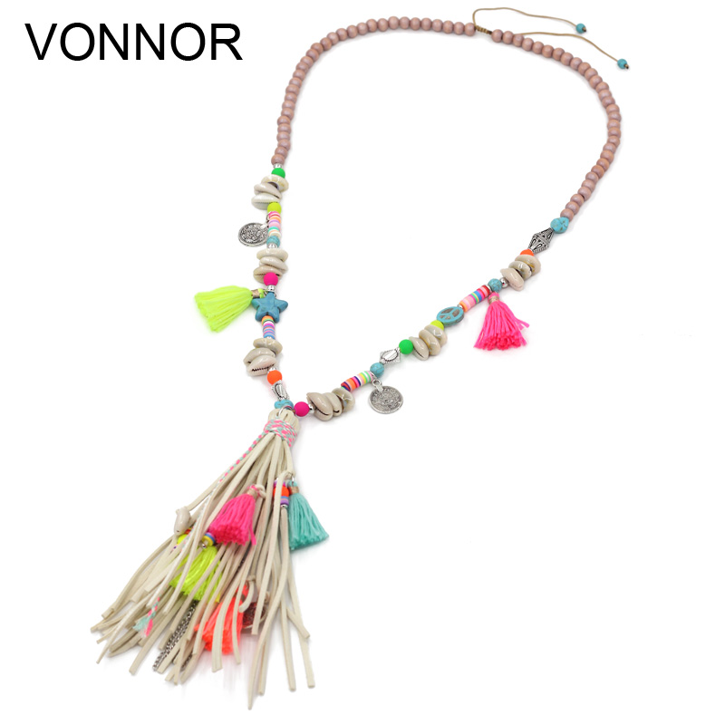 VONNOR Jewelry Women Statement Necklaces Bohemian Colorful Strand Necklaces Tassel Pendant Female Girls Long Necklace for Dress