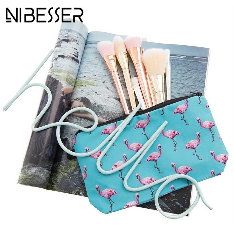NIBESSER 2018 3D Flamingo Printing Cosmetic Bag Fashion Women Brand Makeup Organizers Zipper Portable Beauty Pouch