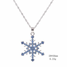 Minimal Blue And Green Crystal Jewelry Choker Necklace Pendant Snow Flower For Woman As Gifts